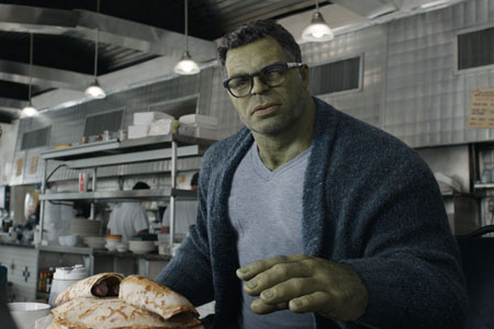 Hulk sits in his diner to talk to Steve, Nat and Scott as Professor Hulk.