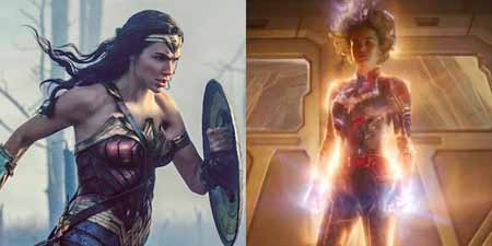 Side by side image of Wonder Woman holding her shield and Captain Marvel in full power.