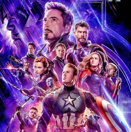 The surviving Avengers on the poster of Endgame as Thanos looms in the background.