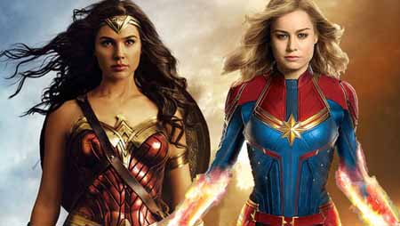 Wonder Woman and Captain Marvel looking ahead on a side by side photo.