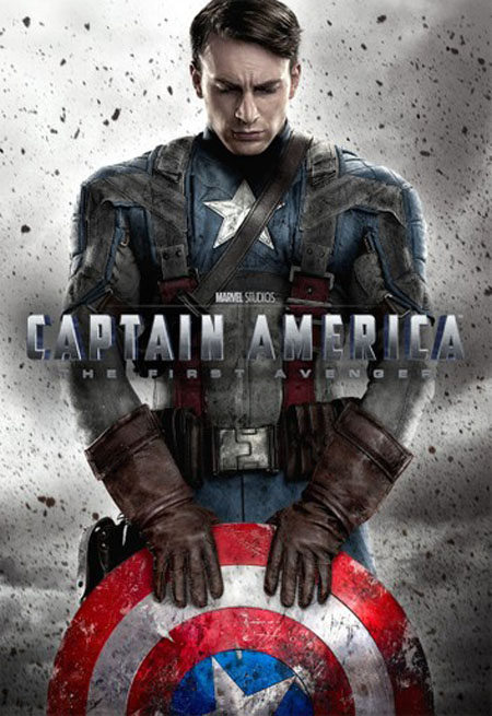 Captain America: The First Avenger poster with Captain America holding his shield and bowing his head.