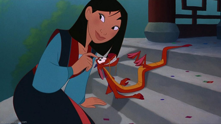 Mulan pets Mushu on the steps of the temple.