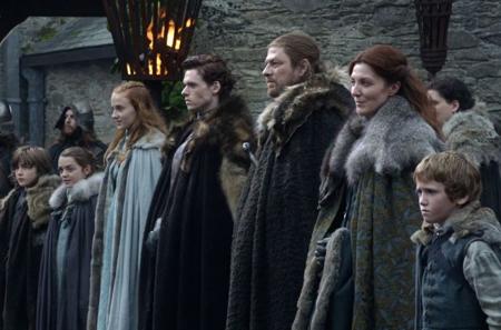 Toute la famille Stark souhaite la bienvenue au roi
