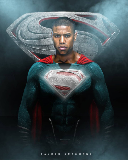 Michael B. Jordan as Superman as illustrated by fan.