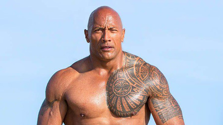 Shirtless Dwayne Johnson.