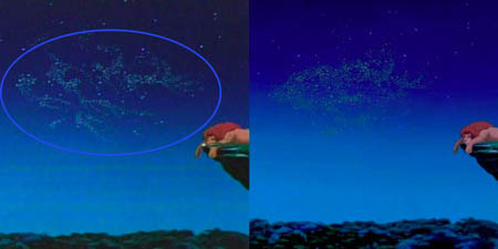 The infamous 'sex' spelled out scene in The Lion King.