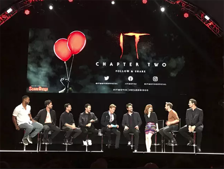 The panel of IT Chapter two at comic con with Conan.