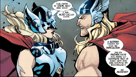 Female Thor and Male Thor battle it out.