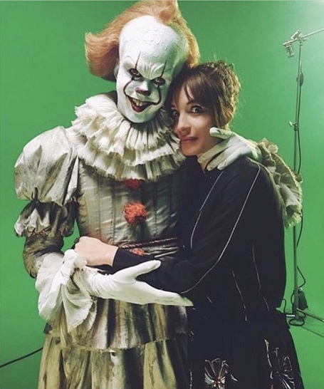 Bill Skarsgård with his girlfriend Alida Morberg on the set of 'It' (Source: Twitter)
