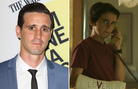 James Ransone in side by side picture with the younger version of the character in IT: Chapter 2.