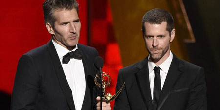 David Benioff and D. B. Weiss accept Emmy.