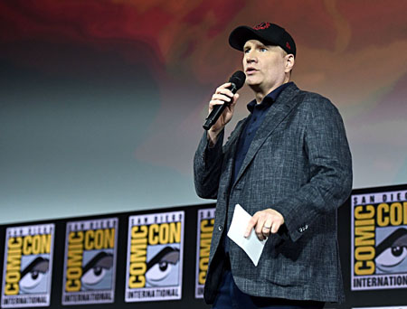 Kevin Feige on the stage at SDCC 2019.