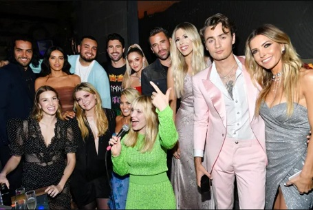 "The cast of 'The Hills: New Beginnings"" and singer Natasha Bedingfield (center) at a party for the premiere of the show."