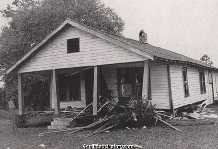 The house of Hariette and Harry Moore after the bombing.