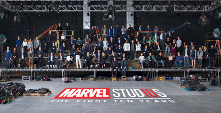 All the characters of Marvel movies come together to take a ten year anniversary photo.