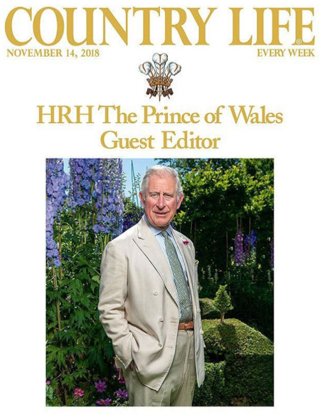 Prince Charles as the guest editor of country life magazine.