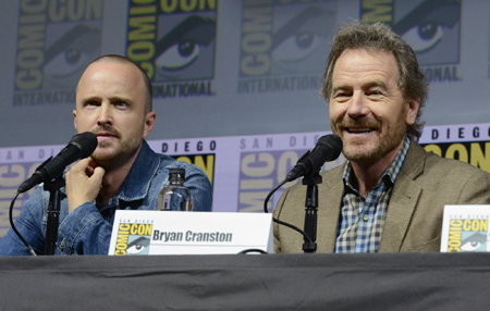 Aaron Paul and Bryan Cranston are seen together in comic-con.
