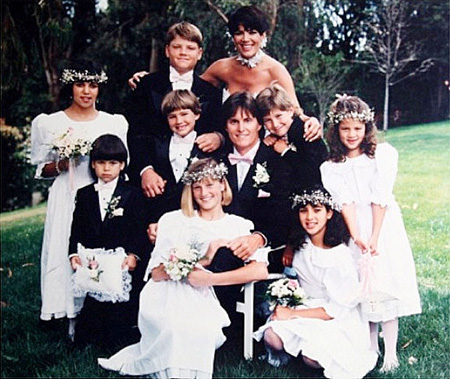 Bruce and Kris Jenner during their wedding ceremony along with their kids.