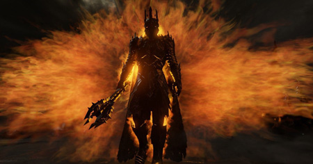 Sauron in full body armor, holding a trident walking as the eye of Sauron is seen behind him.