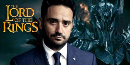 Edited photo of J A Bayona with Sauron added over his left shoulder and Lord of the Rings logo added over his right.