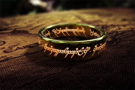 The one ring of power is seen on top of the map of middle earth.