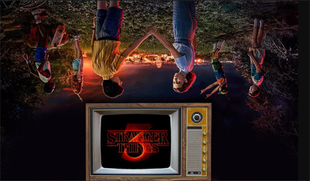 Inverted Stranger Things poster with the logo right side up.