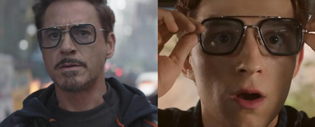 Side by side image of Tony and Peter wearing the same glasses.