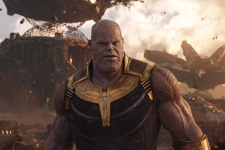 Thanos in Titan meets the Avengers and Guardians team.