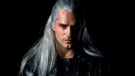 Geralt of Rivia portrayed by Henry Cavill.