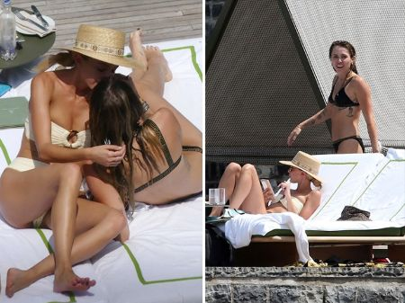 Kaitlynn and Miley kissing while on vacation.