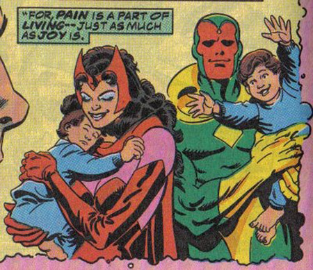 Vision and Wanda with their kids.