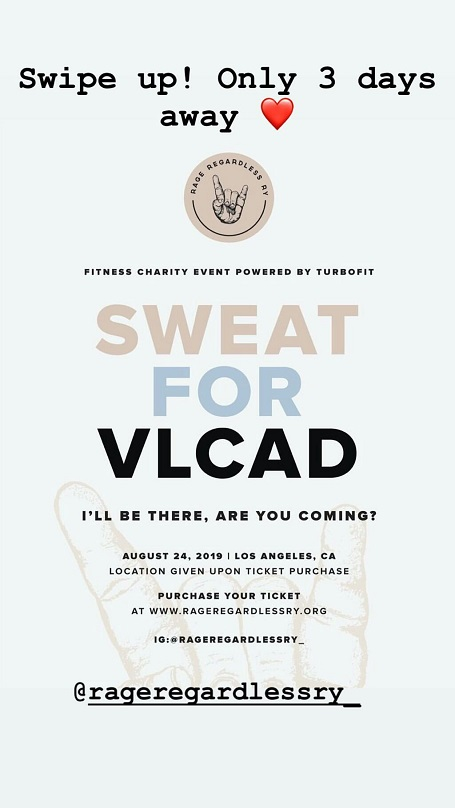 Taylor is preparing for the Fitness Charity Event 'Sweat For VLCAD'.