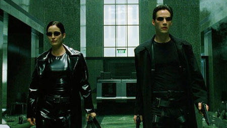Keanu and Carrie-Anne in The Matrix.