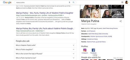 Google calls her Mariya Putina even when the search is done in English.