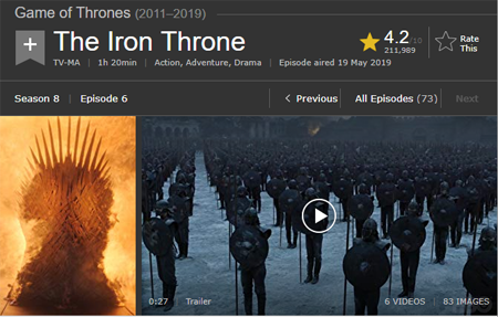 Game of Thrones finale episode page in IMDb.