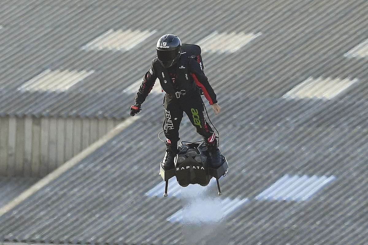 French Inventor Franky Zapata Successfully Crossed The Channel On A Jet-Powered Hoverboard For The First Time