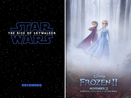 Posters for rise of skywalker and frozen II.
