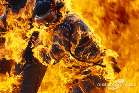 Fire during pit stop of Jos Verstappen, Benetton B194 Ford at German GP, Jul 31, 1994