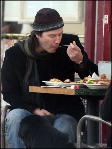 Keanu Reeves eating