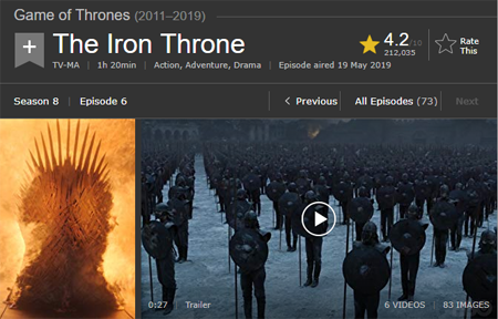 Game of Thrones IMDb page screenshot.