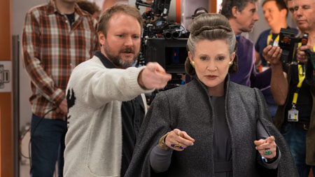 Rian Johnson and Carrie Fisher.