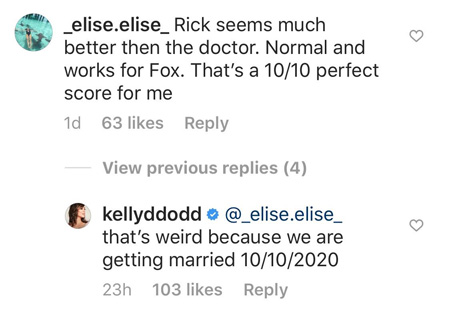 Instagram comment by Kelly Dodd