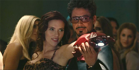 Robert Downey and Scarlett Johansson in Iron Man 2