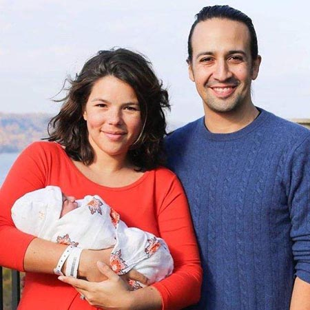 Lin-Manuel Miranda and Vanessa Nadal with their firstborn.