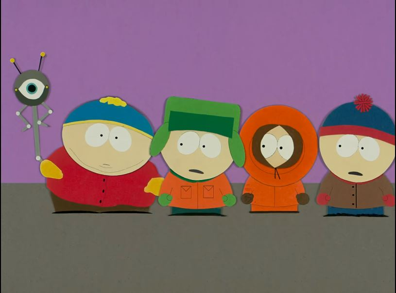 A scene from first South Park episode, 'Cartman Gets an Anal Probe', in the cafeteria where the probe inside Cartman comes out.