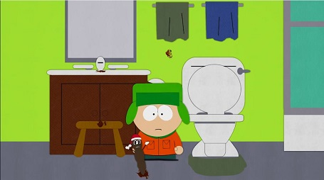 Mr. Hankey coming out of the potty when Kyle is there on South Park episode, 'Mr. Hankey'.
