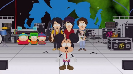 Micky Mouse in South Park with Jonas Brother and three of the four stars on the background.