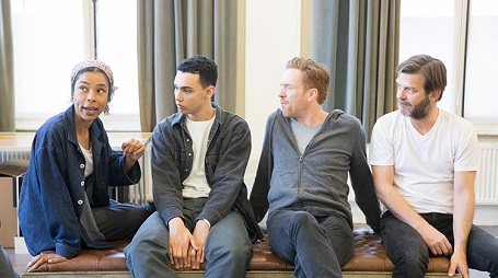 (From left) Sophie Okonedo, Archie Madekwe, Damian Lewis and Ian Rickson preparing for 'The Goat, or Who is Sylvia?'