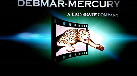 The logo of Debmar-Mercury featuring a leopard coming out of a video reel.