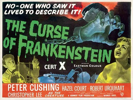 The poster of 'The Curse of Frankenstein.